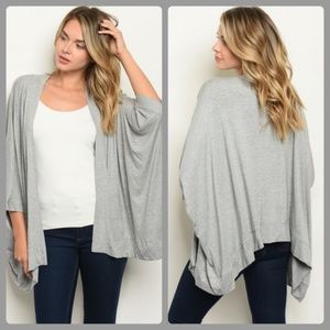 Boutique Grey Open Front Cardigan